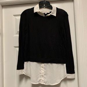Ann Taylor Loft Black Sweater Shirt Combo